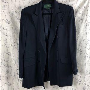 Ralph Lauren Navy Blue Padded Long Blazer Coat